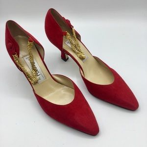 Proxy Red Faux Suede Ankle Chain Pumps